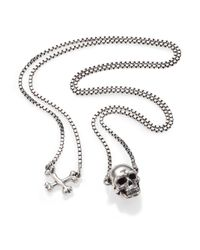 Tateossian | Metallic Sterling Silver Skull Necklace for Men | Lyst