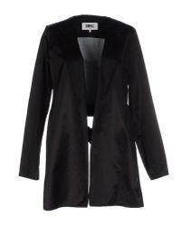 MM6 by Maison Martin Margiela - Black Full-length Jacket - Lyst