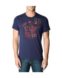 True Religion | Blue City Of La Crew Neck Mens Tee for Men | Lyst