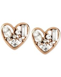 Betsey Johnson | Metallic Rose Gold-tone Crystal Heart Stud Earrings | Lyst