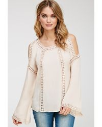 Forever 21 | Pink Contemporary Crocheted Open-shoulder Top | Lyst