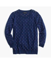 J.Crew - Blue Polka-dot Tippi Sweater With Shoulder Buttons - Lyst