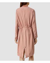 AllSaints - Pink Elio Bomber Parka Coat Usa Usa - Lyst