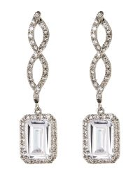 CZ by Kenneth Jay Lane | White Silver-Tone Twist Earrings | Lyst