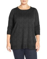 Eileen Fisher | Black Ballet-Neck Merino-Jersey Top | Lyst