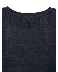 Roberto Cavalli | Black Stretch Cotton Blend Jacquard Tank Top | Lyst