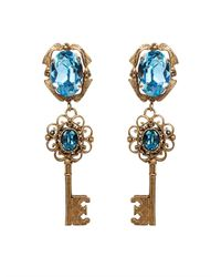 Dolce & Gabbana | Blue Crystal-Embellished Key Earrings | Lyst