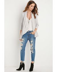Forever 21 | Gray Mixed Knit Cardigan | Lyst