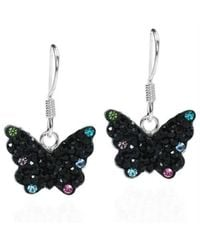 Aeravida | Cute Black Butterfly Cz Flutter .925 Silver Dangle Earrings | Lyst