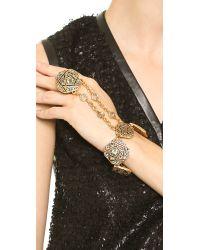 Oscar de la Renta - Metallic Rose Pave Hand Piece Black Diamond - Lyst