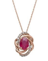 Lord & Taylor | Red Diamond And Ruby 14k Rose Gold Pendant Necklace | Lyst