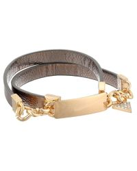 Guess | Metallic Gold-tone Denim-inspired Statement Stretch Bracelet | Lyst