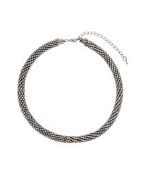 Mikey - Metallic Twisted Crystal Linked Necklace - Lyst