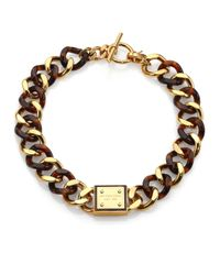 Michael Kors - Metallic Tortoise-print Plaque Toggle Chain Necklace - Lyst