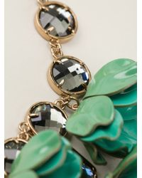 Tory Burch - Green 3D Flower Necklace - Lyst