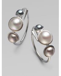 Majorica | Metallic 6mm, 8mm & 10mm Mabe Sterling Silver Pearl Hoop Earrings/1 | Lyst