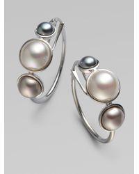 Majorica - Metallic 6mm, 8mm & 10mm Mabe Sterling Silver Pearl Hoop Earrings/1 - Lyst