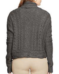 Lauren by Ralph Lauren | Gray Plus Cable-knit Cardigan | Lyst