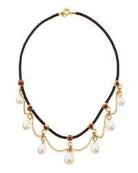 Assael - Metallic Rubystation Pearldangle Necklace White - Lyst