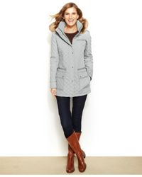 Calvin Klein | Gray Faux-fur-trim Quilted Coat | Lyst
