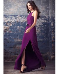 Halston - Purple Crepe Gown With Obi Belt - Lyst