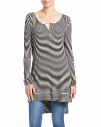 Free People | Black Ribbed Hi-lo Henley Tunic | Lyst