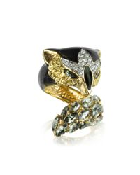 Roberto Cavalli | Metallic Fox Brass And Crystal Ring | Lyst
