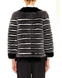 Marc Jacobs - Gray Striped Fur Coat - Lyst
