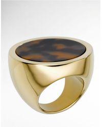 Michael Kors - Metallic Faux Tortoise Disc Ring  - Lyst