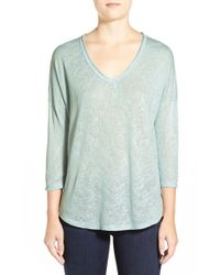 Bobeau | Blue Metallic Flecked V-neck Pullover | Lyst