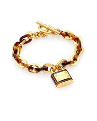 Michael Kors | Metallic Padlock Tortoise-Print Chain Link Toggle Bracelet | Lyst