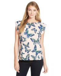 Cece by Cynthia Steffe - Blue 'floating Butterflies' Print Blouse - Lyst