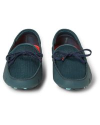 Swims - Green Rubber and Mesh Boat Shoes for Men - Lyst