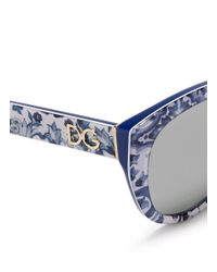 Dolce & Gabbana | Blue Maiolica Print Acetate Cat Eye Sunglasses | Lyst