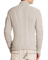 Ralph Lauren Black Label - Gray Ribbed Merino Cable-knit Sweater for Men - Lyst