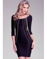 Bebe - Black Draped Chain Body Chain - Lyst