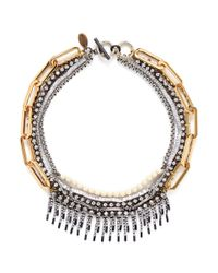 Venna - Metallic Chain Link And Pearls Necklace - Lyst