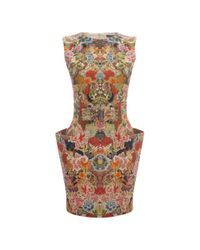 Alexander McQueen | Multicolor Patchwork Floral Belted Mini Dress | Lyst