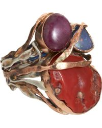 Sandra Dini | Metallic Coral Ruby Opal Ring | Lyst