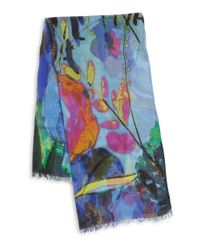 Fraas Blue Watercolor Floral Scarf