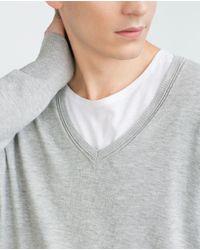 Zara | Gray V-neck Sweater for Men | Lyst