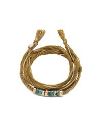 Aurelie Bidermann | Natural Takayama Turquoise Stones And Olivine Thread Bracelet | Lyst