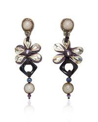 Naeem Khan - Multicolor Onyx And Metal Mesh Covered Pearl Chandelier Earrings - Lyst