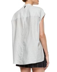 Rag & Bone - Gray Manon Cap-sleeve Striped Shirt - Lyst