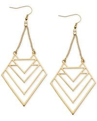 Guess | Metallic Gold-tone Cutout Triangle Drop Earrings | Lyst