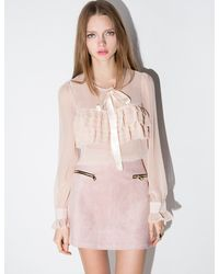 Pixie Market - Pale Pink Chiffon Bow Tie Ruffled Blouse - Lyst