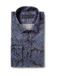 Etro - Blue Paisley Cotton Double-Cuff Shirt for Men - Lyst