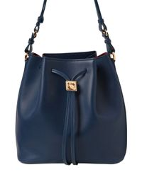 Ferragamo - Blue Sansy Smooth Leather Shoulder Bag - Lyst