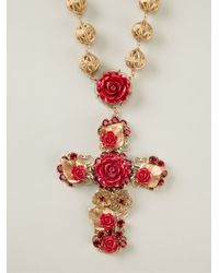 Dolce & Gabbana - Red-Gold Cross Necklace - Lyst