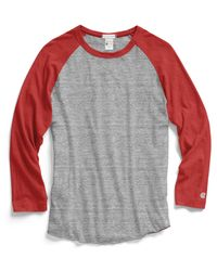 Todd Snyder | Red Baseball T-Shirt In Antique Grey Mix for Men | Lyst